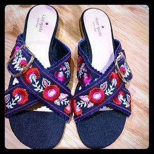 Kate Spade Farris Indigo Embr. Flowers Sandals